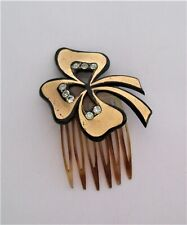 Vintage or Antique French Shamrock & Rhinestone Hair Comb by Riviera