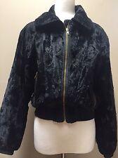 Skea Paris / Vail Womens Black faux fur bomber Pony Ski dressy jacket sz 6 USA