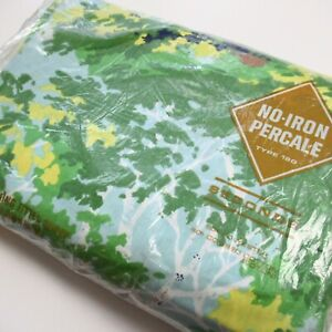 Vintage Burlington King Fitted Sheet MOD FOREST White Birch Trees Blue Green 70s