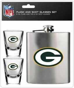 NFL Green Bay Packers 6oz Flask & 2oz Glass Shot Set Stainless Steel Flask