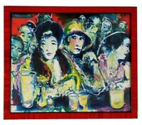 Ed Cesena California Vintage Modern Expressionism Bar Nighclub Figures Painting