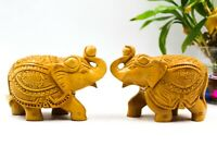 Wood Up Trunk Lucky Elephant Pair Statue Figurine Home Decor Feng Shui Gifts