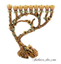 "Enamel HANUKKAH MENORAH Gold Plated & Emerald Crystals Handmade Judaica Gift 7"""