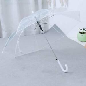 2x Large Clear See Through Dome Umbrella Ladies Transparent Walking Rain Brolly