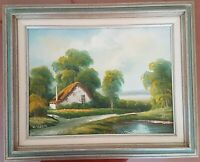 Vintage Original Oil Painting Thatched Cottage Countryside Signed D. Junepa