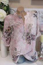 Camisa Pescador túnica blusa Extra Grande Floral hell-rosa Batik 38 40 42
