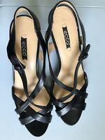 Ecco Womens Black Leather High Heel Strap Sandals Sz 40/ US 9