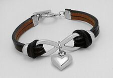 "New 7"" Stylish Black Infinity Love Heart Leather Bracelet Toggle Clasp"