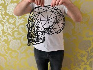 Geometric Side Skull Large Wall Art Hanging Gothic Decoration 30cm x 30cm