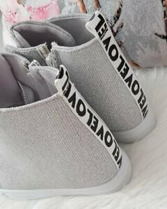 High Heels WEDGE  SNEAKERS TRAINERS COLOURS !Silver ^%^%@#@#@!@!@