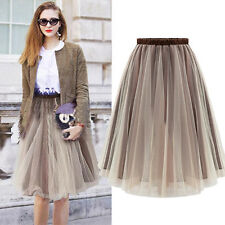 Chic Women Flare Tulle Elastic Waist Bubble Pleated Tutu Party Club Skirt Dress