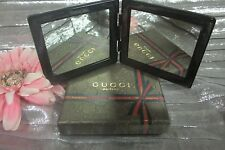 GUCCI PARFUMS flat compac travel mirror with logo  all over.NEW complete of box