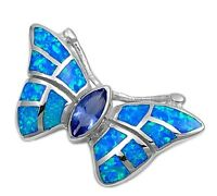 Silver Pendant with Lab Opal Butterfly Blue Lab Opal and Blue Sapphire CZ 925