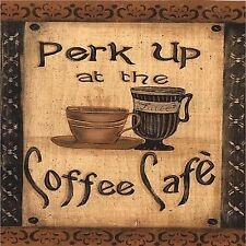 COFFEE CAFE PERK UP SET OF 4 COASTERS RUBBER WITH FABRIC TOP