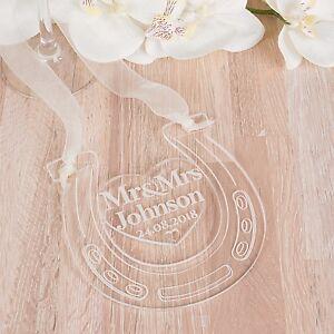 Personalised Acrylic Mr & Mrs Wedding Lucky Horseshoe Bridal Keepsake Gifts