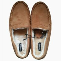 Official FIRETRAP Suede Moccasin Leather upper Slip on Slippers Tan Mule NEW