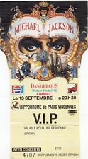 RARE TICKET BILLET V.I.P CONCERT MICHAEL JACKSON DANGEROUS TOUR 13/09/1992 PARIS
