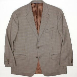 Brooks Brothers Madison Mens Sport Coat 45R Brown Beige Mini Check Wool Jacket