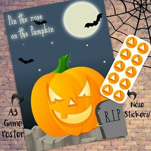 Pin the Nose on the Pumpkin - Kids Halloween Game - 20x - Mask Props Decoration