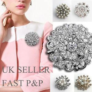 Crystal Faux Pearl Brooch Clip Buckle Holder Brooch Scarf Shoe Jewelery-UKSELLER