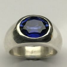 MJG STERLING SILVER MEN'S RING. 12 X 10mm  FACETED LAB BLUE SAPPHIRE. SZ 10 1/2