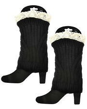 HOT!  JET BLACK Lace Top Cable Knit Boot Toppers Cuffs Leg Warmer - USA SELLER!