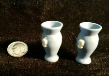 1:12 Dollhouse Miniature ~2 Lovely Miniature Wedgewood Blue Vases New!