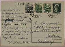 STORIA POSTALE LUOGOTENENZA CARTOLINA 60 CENT +40 CENT +COPPIA 1 LIRE 1946#SP460