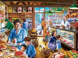 Jigsaw Puzzle Before There Were Malls Cakes and Treats Shop Lunch 750 pieces NEW