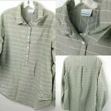 Columbia Mens Size Large Long Sleeve 1/2 Button Down With Front Pockets M3