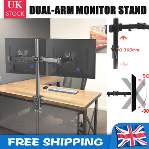 """Fully Adjustable Double Monitor Mounts Bracket Dual Arm Desk PC Stands 10""""- 27"""""""