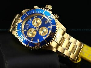 Invicta Men 47mm Pro Grand Diver Swiss ETA Made Chrono 18KGP Blue SS Watch 300m