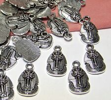 ANCIENT EGYPTIAN CHARMS-50 SILVER CHARMS-PHARAOH-KING TUT-UNIQUE-JEWELRY DROPS