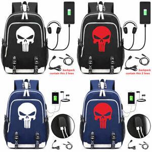 Punisher Skull Backpack Rucksack Bag Teenagers Men Women Student School USB Bags