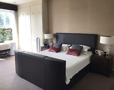 Park Lane Bedstead Chocolate 100% real Leather Super King Bed With TV RRP £2995