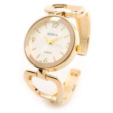 Geneva Gold Tone Metal Large Face Women's Bangle Cuff Watch