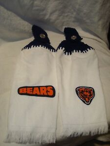 Chicago Bears Set of 2 Crochet Handmade Kitchen Hand Fridge Golf Bar Towels NEW