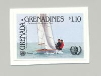 Grenada Grenadines #649 Youth Year UN Sailing 1v Imperf Proof on Card