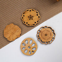 4Pcs Lotus Drink Coasters Mat Wooden Round Cup Table Mat Tea Coffee Mug Placemat