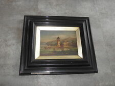 Century French Impressionist Antique Oil Painting panel LANDSCAPE frame Castle