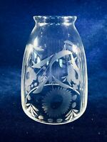 CASABLANCA Daisies Hand Cut & Etched Glass Lamp / Ceiling Fan Light Shade