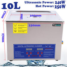 10L Digital Steel Ultrasonic Cleaner Ultra Sonic Bath Cleaning Tank Timer Heater