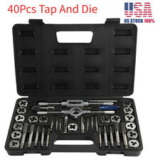 40PC Carbon Steel SAE & METRIC Tap and Die Set Adjustable Wrench T-Handle Case