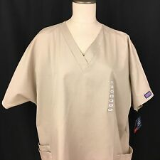 Scrub Top Cherokee Size 2XL Khaki Polyester Cotton Short Sleeve New with Tags