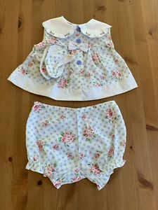 Vintage Girls 3-6M 3 Pc Pink Blue White Floral Outfit & Shoes NWOT