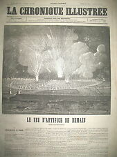 FEU D'ARTIFICE CHAMPS DE MARS ARTIFICEIR RUGGIERI LA CHRONIQUE ILLUSTRéE 1869