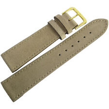 18mm Mens Fluco Sand Tan Suede Leather GOLD Buckle German Made Watch Band Strap