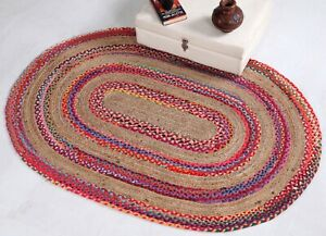 FIESTA Braided Oval Rug Thick Stripe with Natural Jute and Multi Colour Recycled
