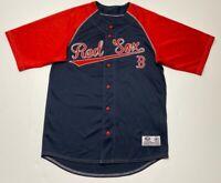 Boston Red Sox True Fan Series Mens Baseball Jersey Navy Blue Red Short Sleeve M
