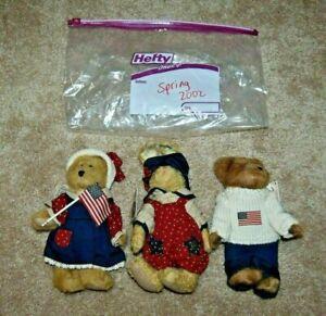 "Boyds Bear Spring 2002 Bailey, Edmund & Emily 8"" Plush Set of 3 Americana NWT"